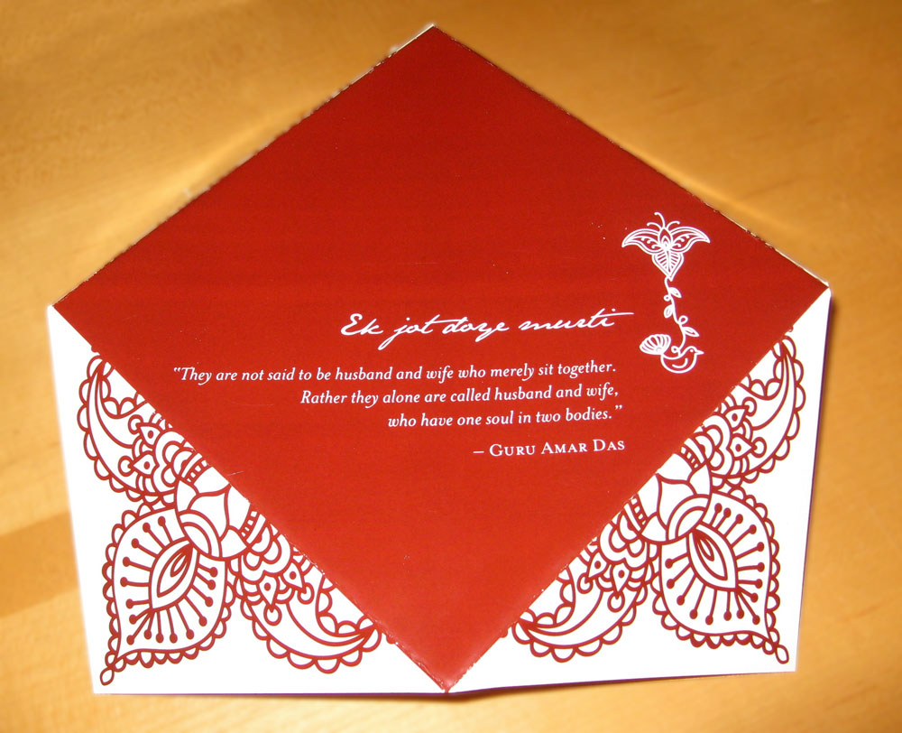 The reverse side of the invitation features a quotation from Guru Amar Das.