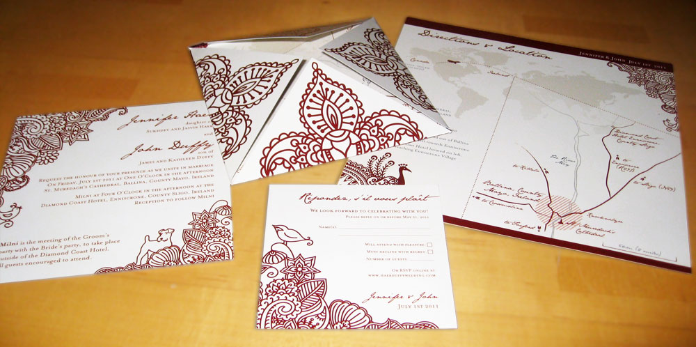 The invitations included a folded piece with an internal map from the ceremony to the reception location, as well as a main insert and RSVP card.